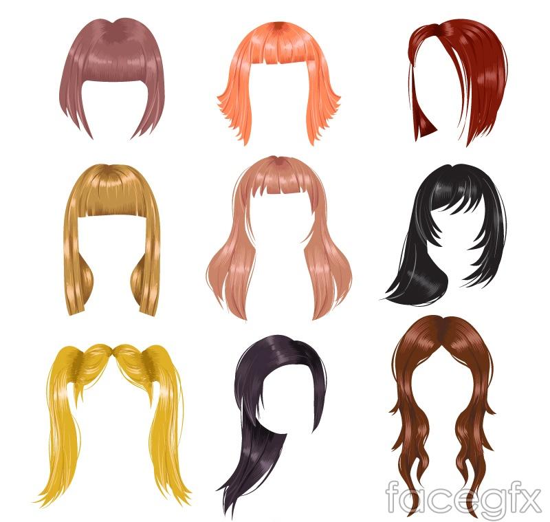 9 color women's hair design vector graph