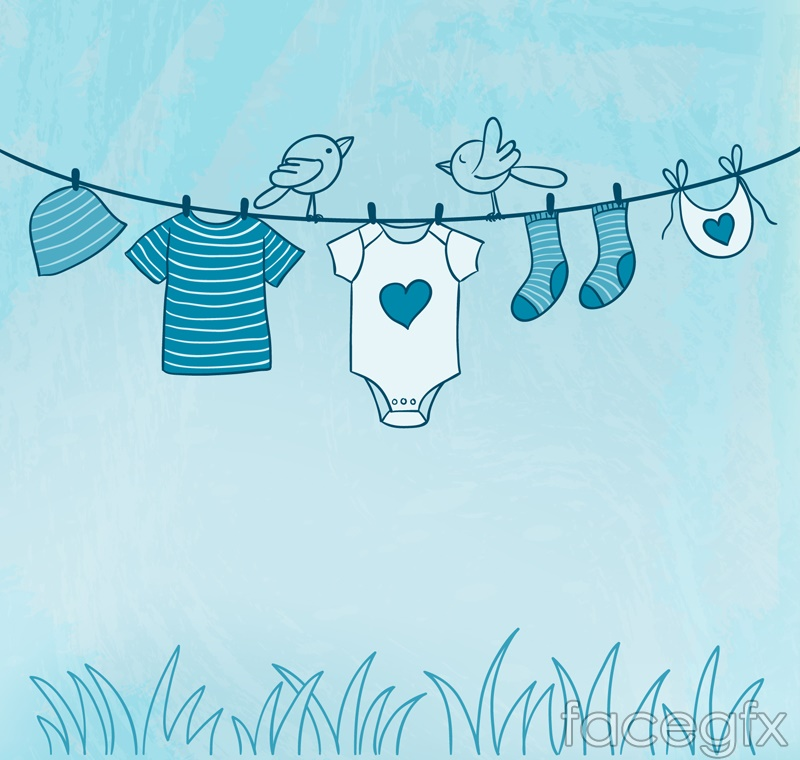 Blue clothesline vector illustration