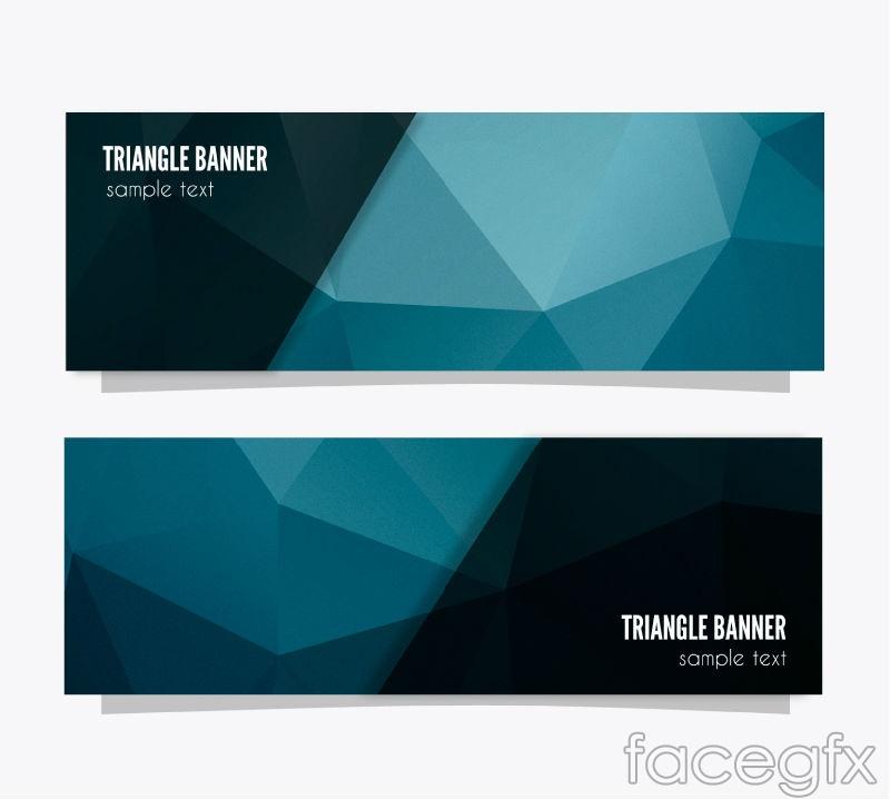 2 blue geometric design banner vector