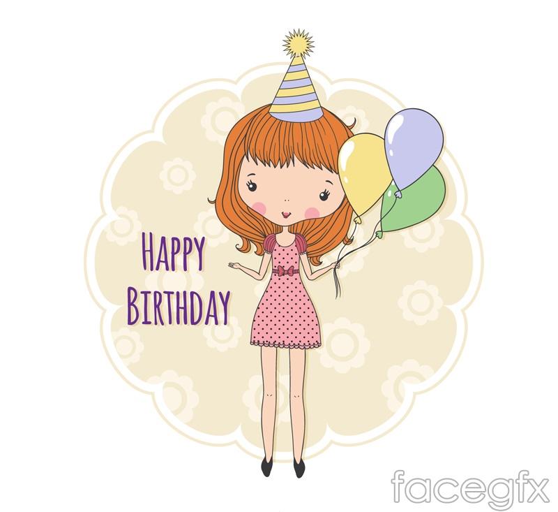Cartoon girl birthday card vector