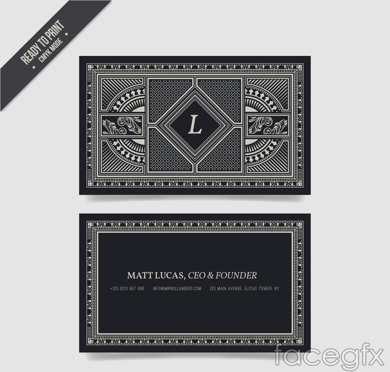 Fashion silver pattern business cards vectors