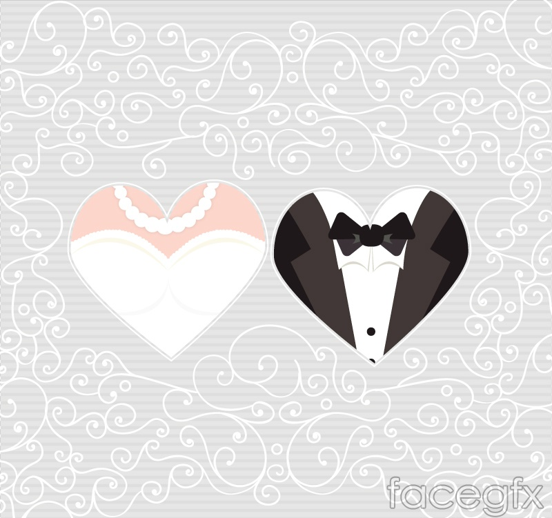 Heart-shaped pattern the bride and bridegroom background vector