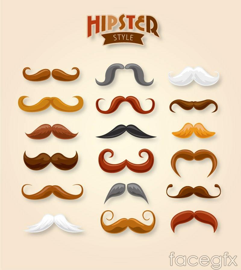 18 stylish beard design vector graph