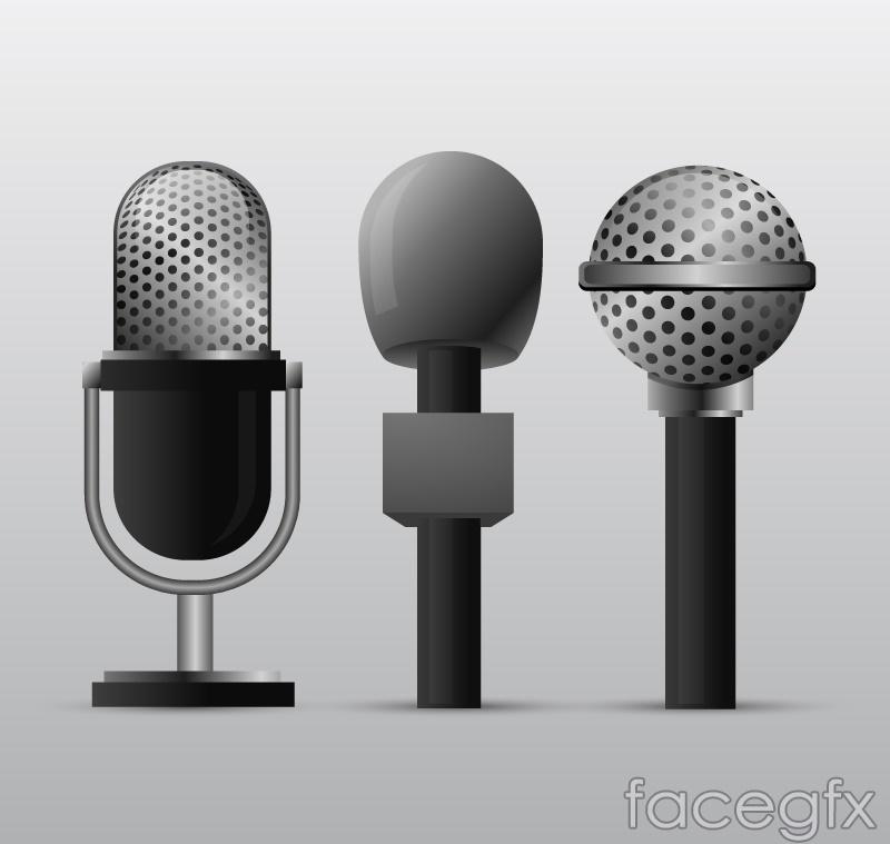 3 microphone design vector