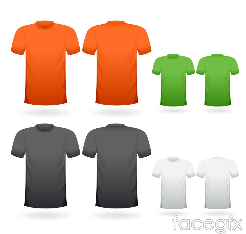 4 color short sleeve t-shirt front and back design vector