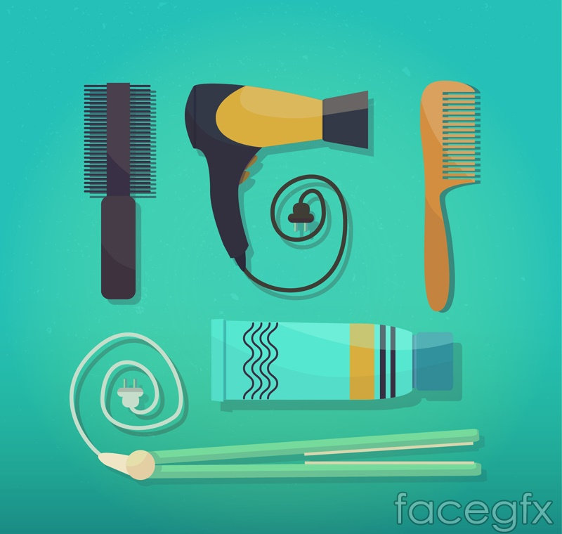 5 hair care tools vector
