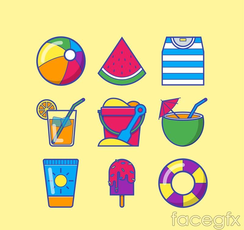9 summer element icon vector
