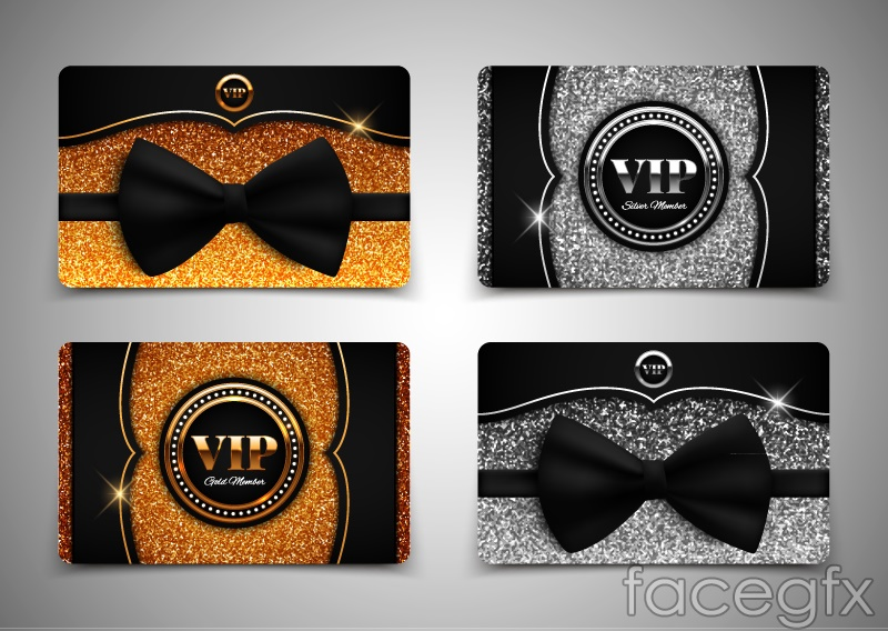 Both sides of 2 gorgeous VIP card vector