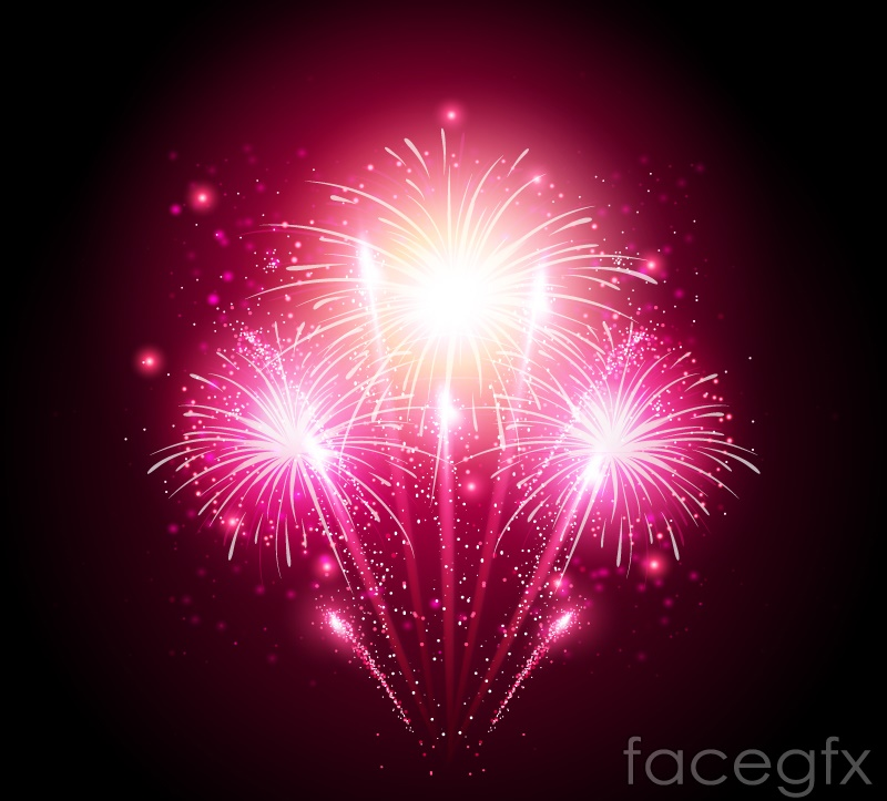 Bright pink Fireworks vector