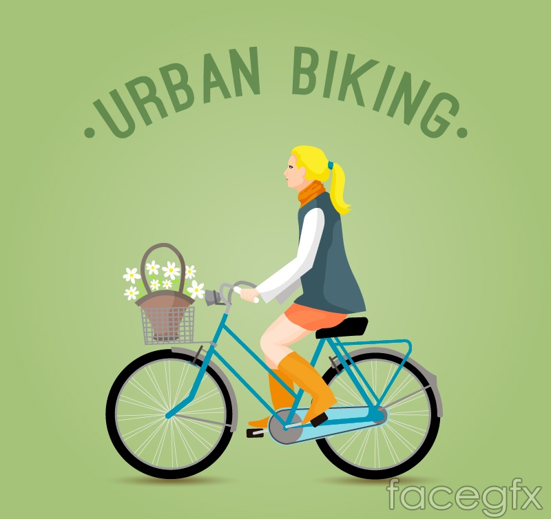 Woman riding a bicycle vector