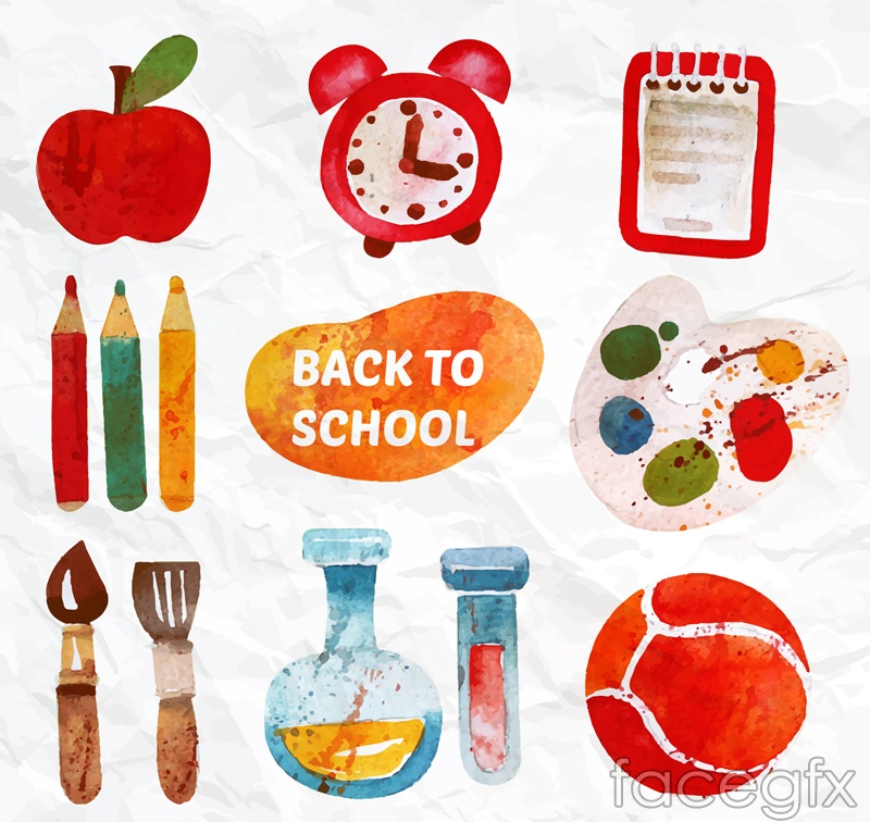 12 water paint the campus element vector diagrams