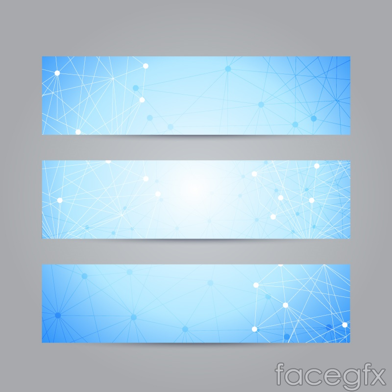 3 dot connection line decorative banner vector