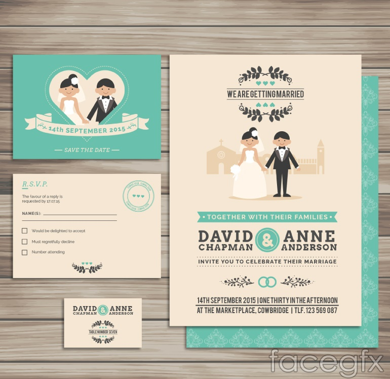 4 card wedding card vector