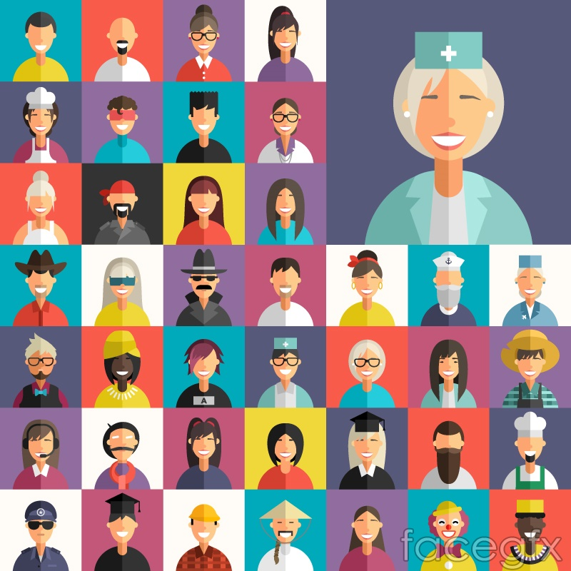 41 flat professional character design vector graph