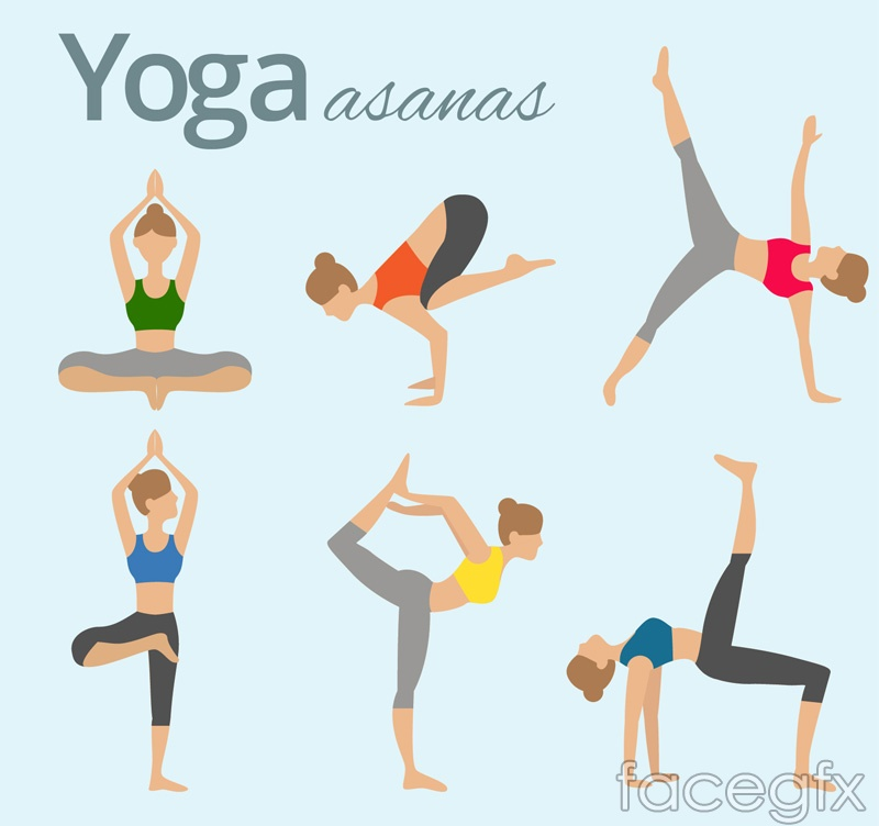 6 women's Yoga pose action vector graphics