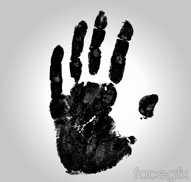 Black left hand handprint design vector