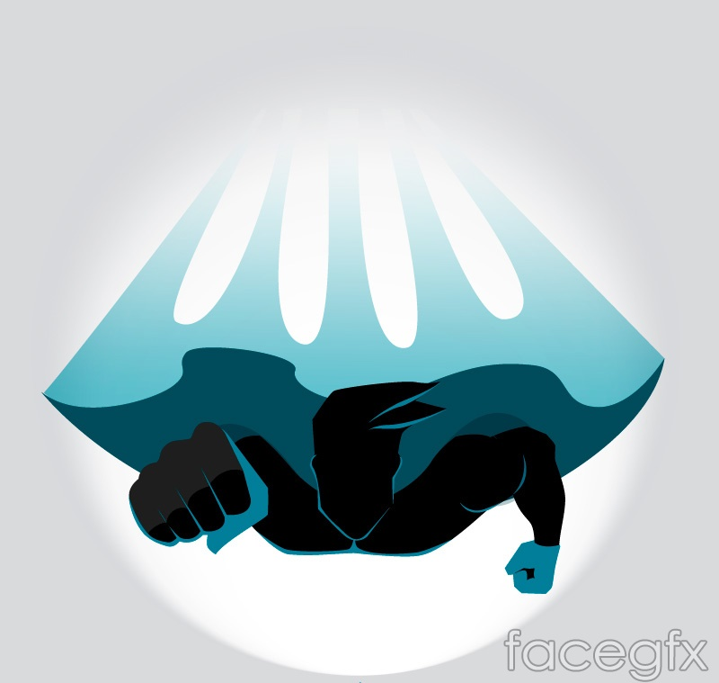 Superman flying front view vector