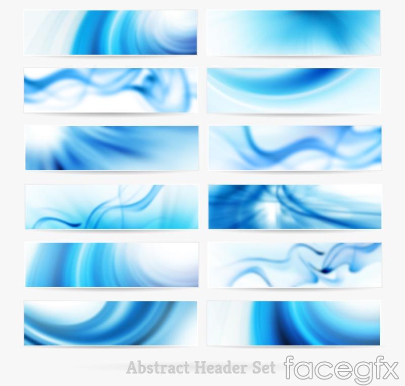 12 stylish blue banner vector