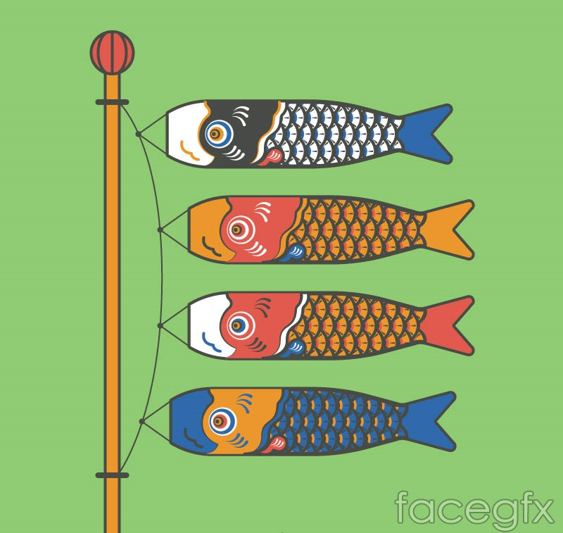 4 colour Japan carp streamers vector