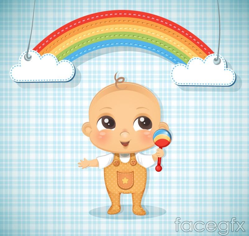 Cute baby and Rainbow clip art vector