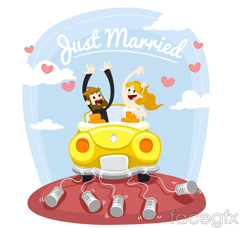 The bride and groom sitting wedding car vector