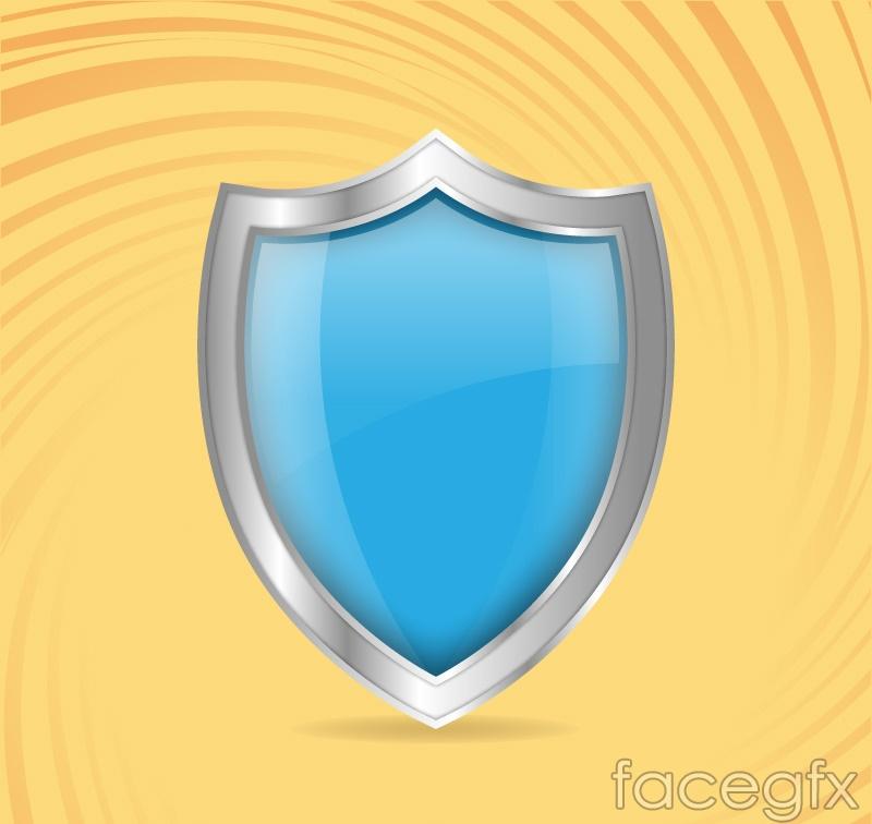 Blue metal shield vector