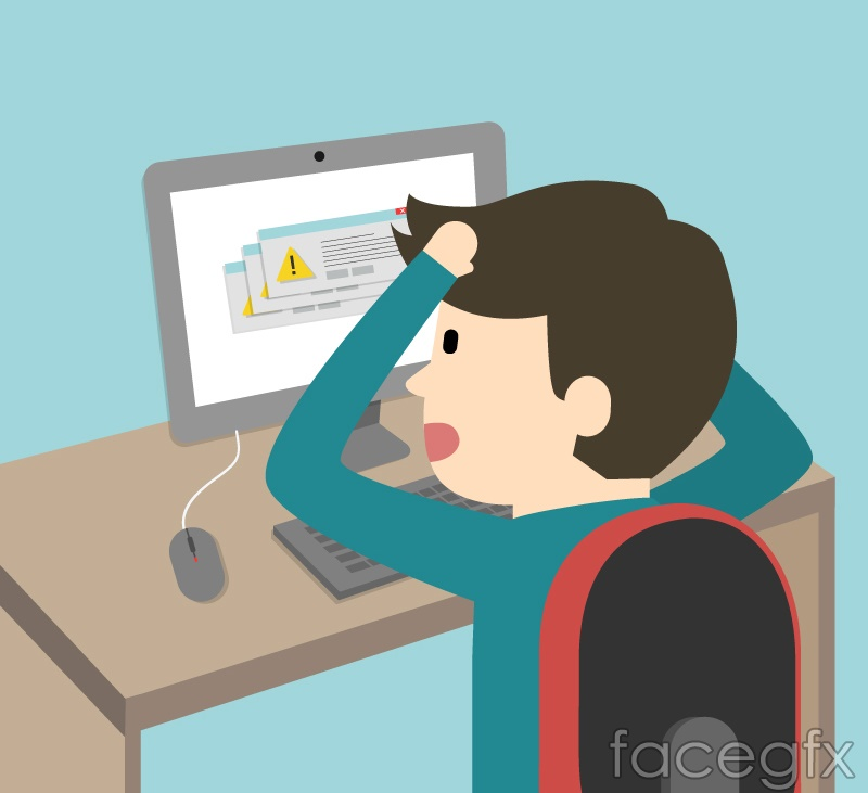 Cartoon computer program error vector illustration