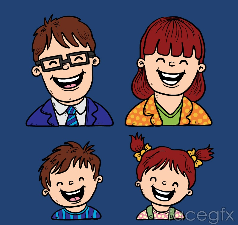 Laughing family of four characters of avatar vector illustration