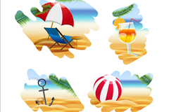 4 summer beach painting vector