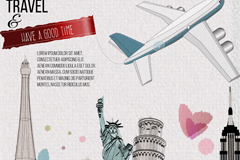 Watercolor travel vector illustration