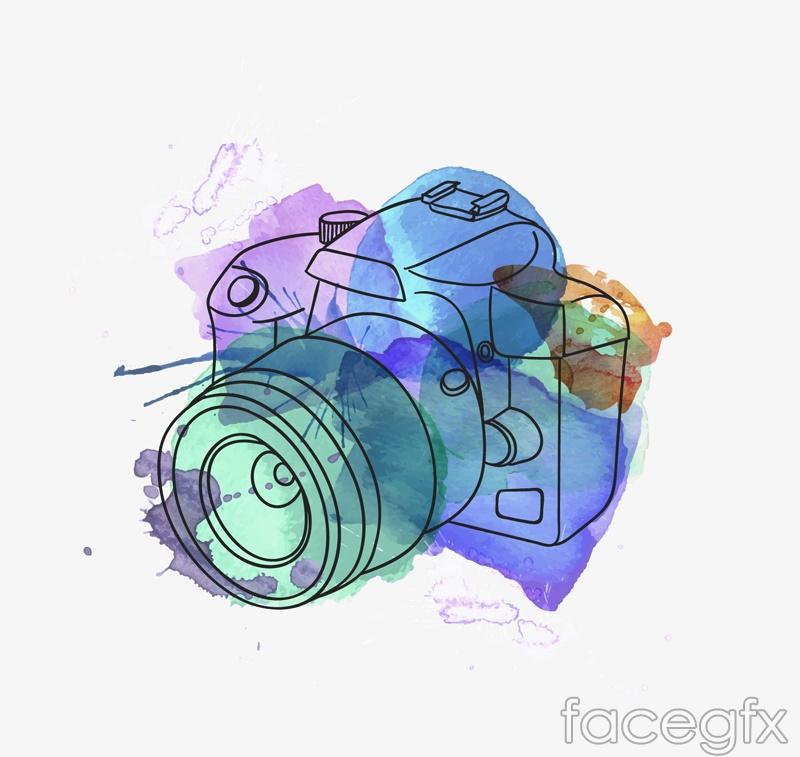Watercolor camera design vector