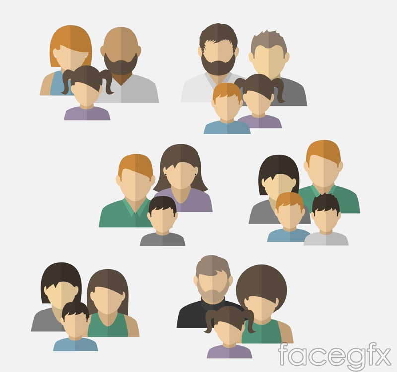 6 family members head vector diagrams