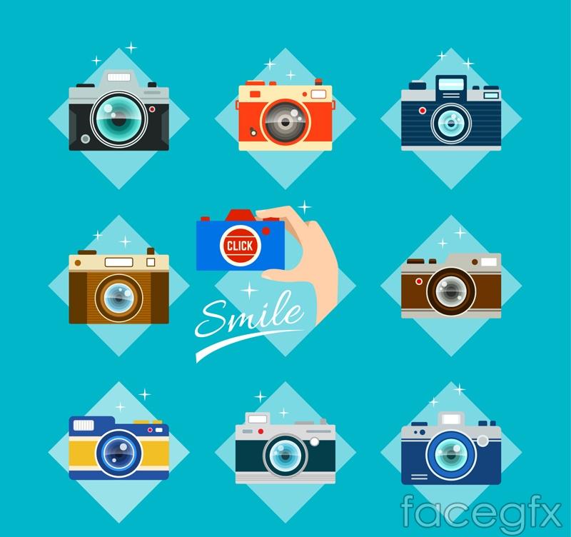 9 color camera design vector graph