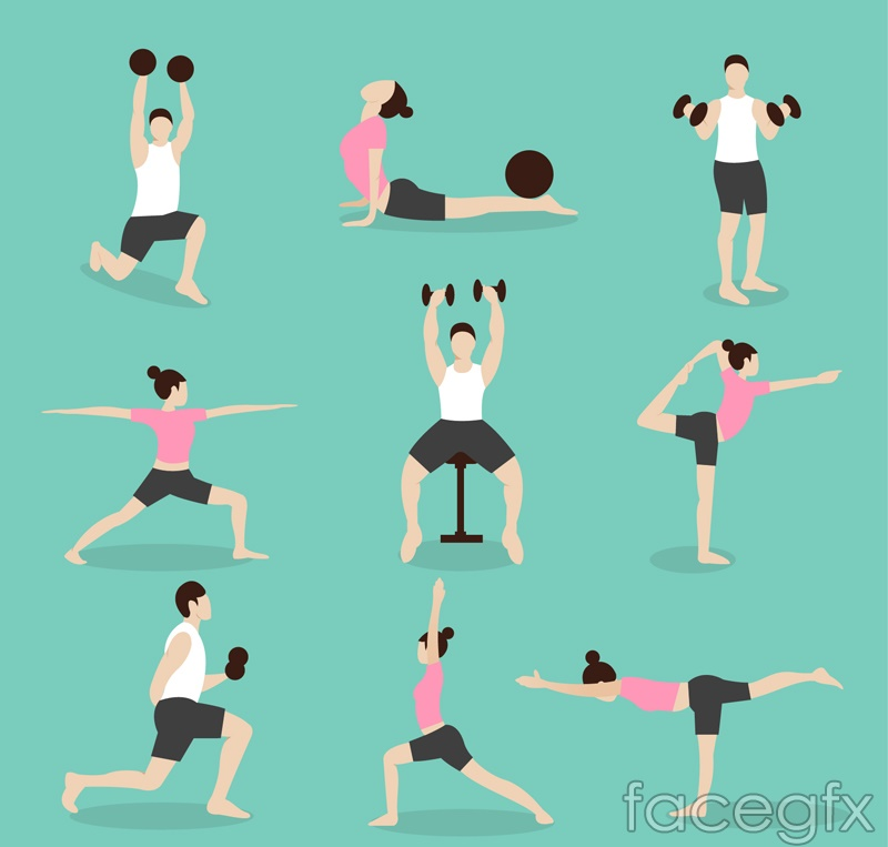 9 fitness character design vector graph