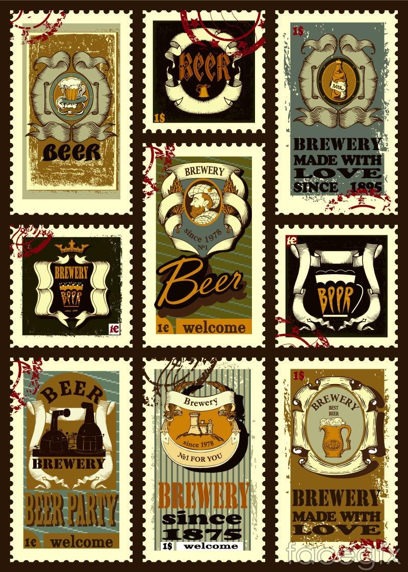 9 vintage beer stamp vector