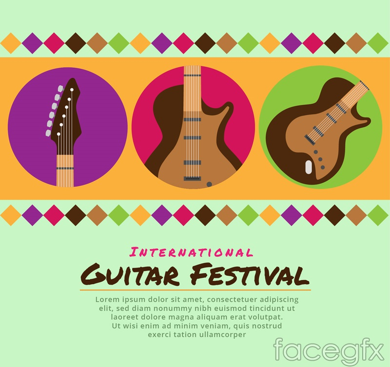 Color poster for Festival of guitar music vector graphics