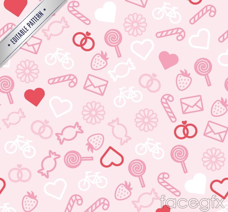 Pink cartoon seamless vector background