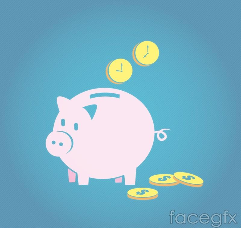 Pink pig piggy vector