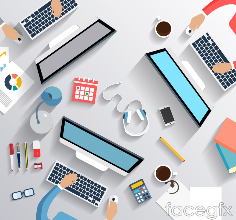 Stylish desk top vector
