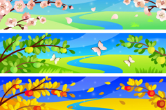 Beautiful seasons banner vector