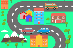 Cartoon bends along the road and view vector graphics