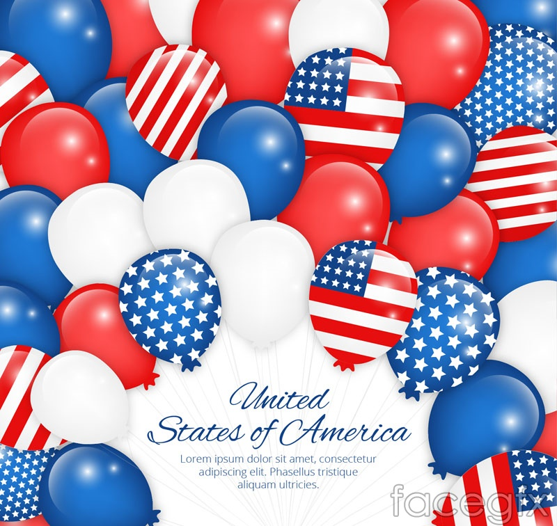 United States stars and stripes element balloon background vector