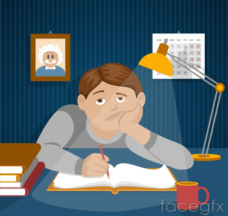Cartoon tired student vector