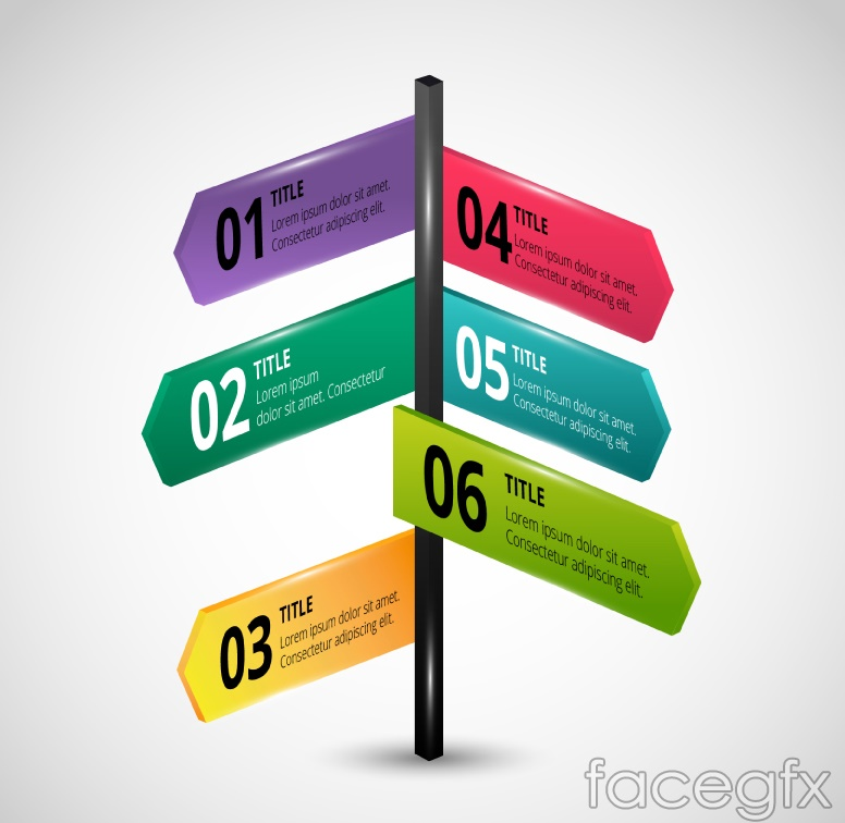 Color cross road sign business information maps vector