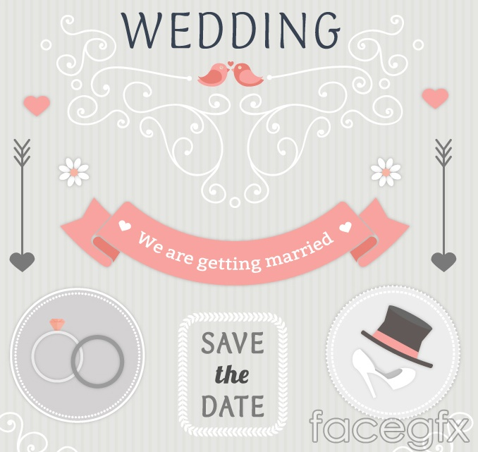 Fresh flower wedding invitation card vector