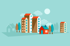 Colored building vector illustration