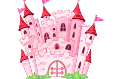 Pink fairytale Castle vector