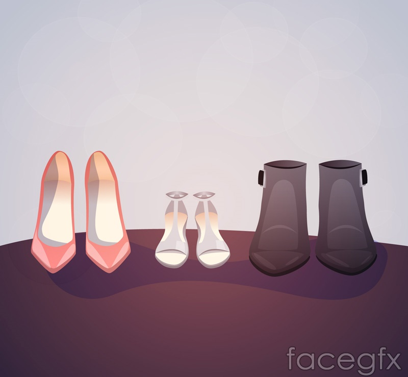 3 women's shoes vector