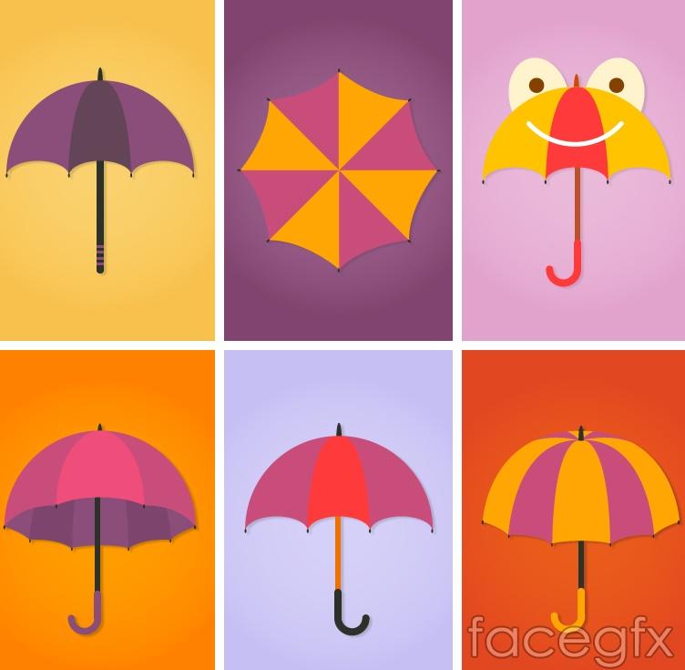 6 color umbrella design vector