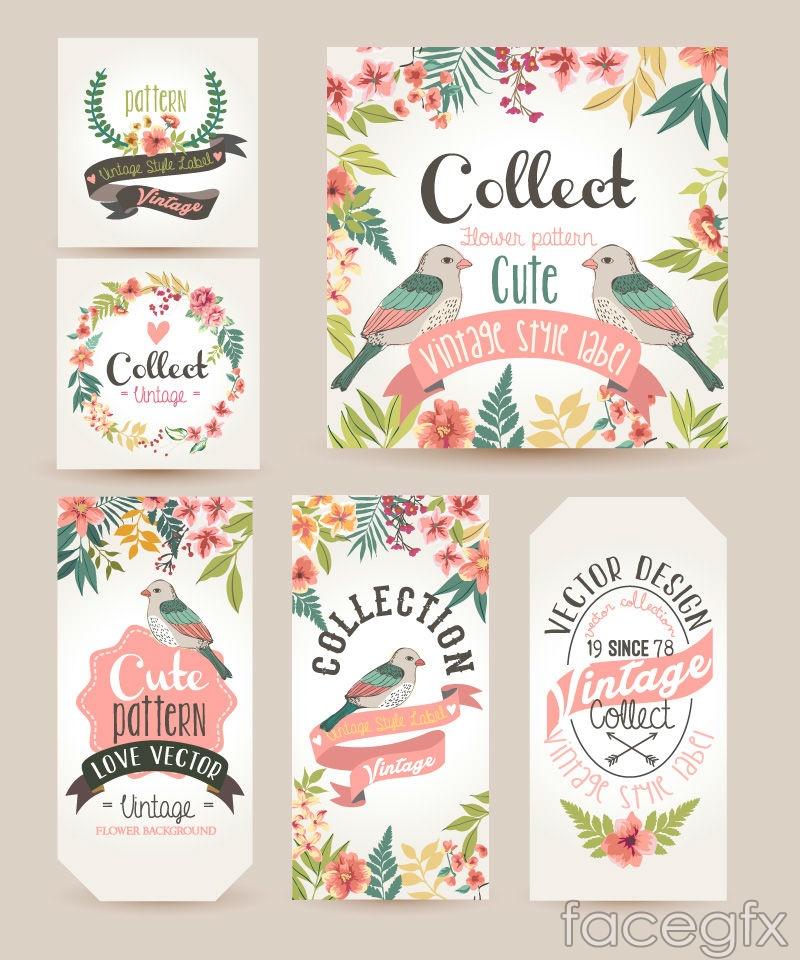 6 watercolor flower cards vector